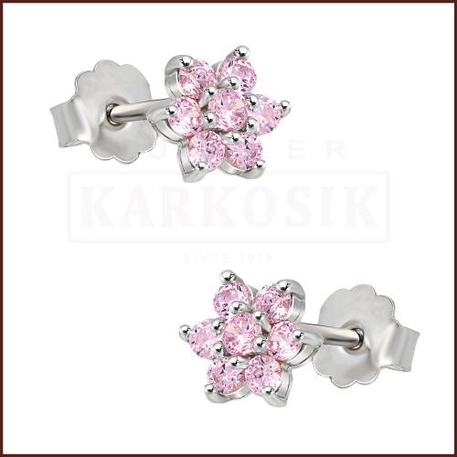 Srebrne kolczyki z cyrkoniami - Różowe Kwiatki pr.925