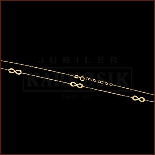 Złoty Naszyjnik Potrójna Celebrytka - Nieskończoność pr.585