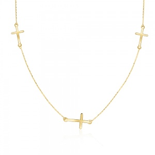 Złoty Naszyjnik Potrójna Celebrytka - Krzyżyki pr.585