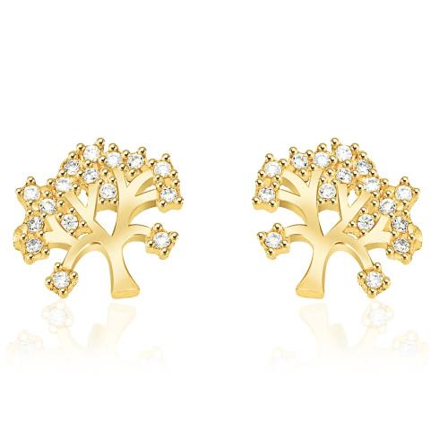 Złote kolczyki z cyrkoniami - Drzewko pr.585
