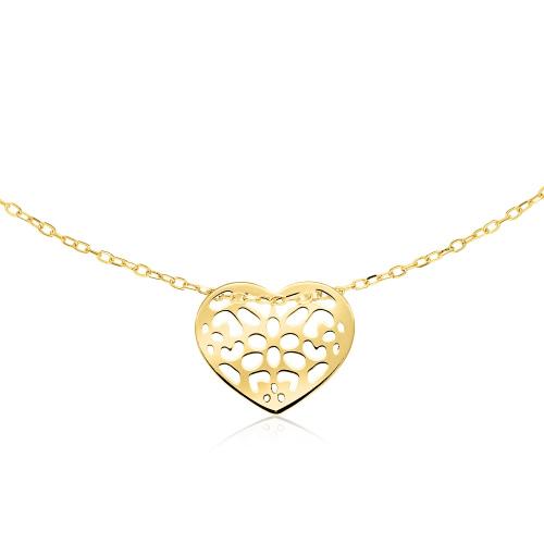 Złoty Naszyjnik Celebrytka - Ażurowe Serce pr.333