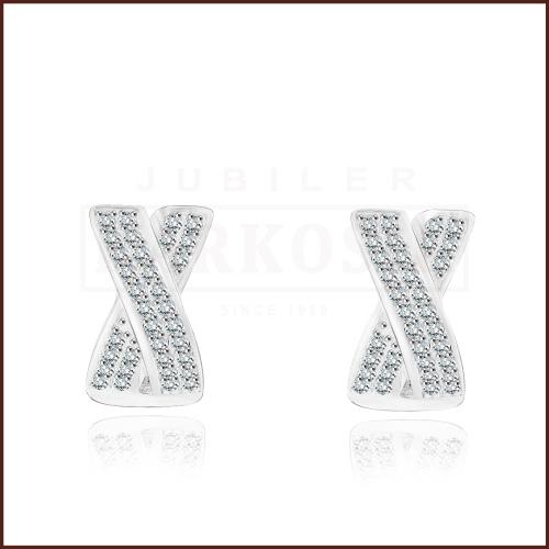 Srebrne kolczyki z cyrkoniami- X pr.925