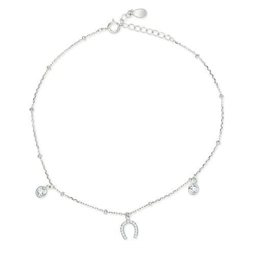 Srebrna bransoletka na nogę 26cm - Podkowa pr.925