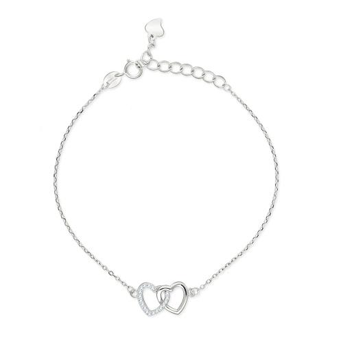 Srebrna bransoletka celebrytka - Połączone Serca pr.925
