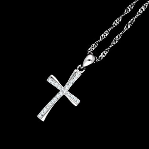 Srebrna zawieszka z cyrkoniami - Krzyżyk pr.925