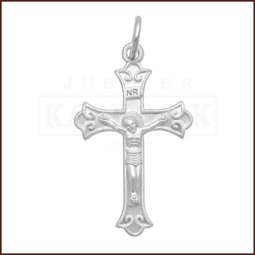 Srebrna zawieszka - Krzyżyk z Jezusem pr.925