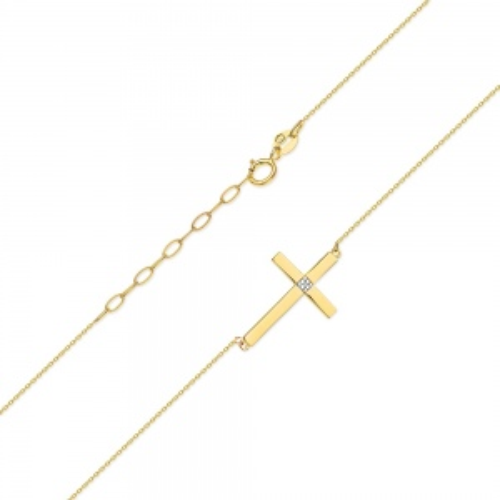 Złoty Naszyjnik Celebrytka Krzyżyk pr.585 z brylantem 0,005ct