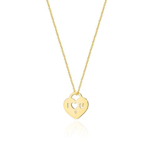 Złoty Naszyjnik Celebrytka Serce pr.585 z brylantem 0,005ct