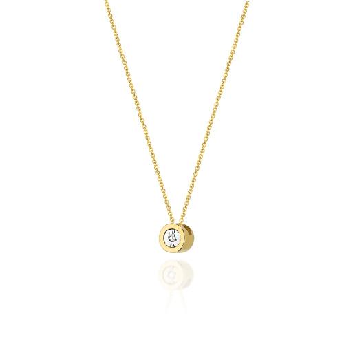 Złoty Naszyjnik Celebrytka pr.585 z brylantem 0,0145ct