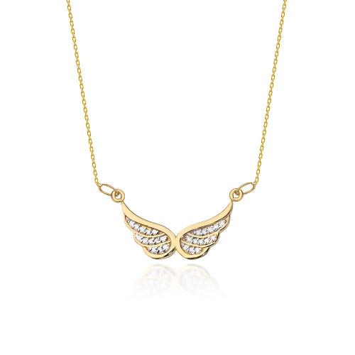Złoty Naszyjnik Celebrytka Skrzydła pr.585 z brylantami 0,12ct