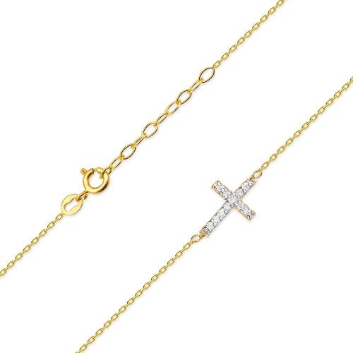 Złoty Naszyjnik Celebrytka Krzyżyk pr.585 z brylantami 0,06ct