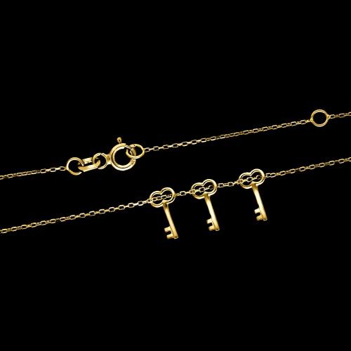 Złoty Naszyjnik Potrójna Celebrytka Kluczyki pr.333