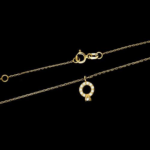 Złoty Naszyjnik Celebrytka z Cyrkoniami Pierścionek Zaręczynowy pr.333