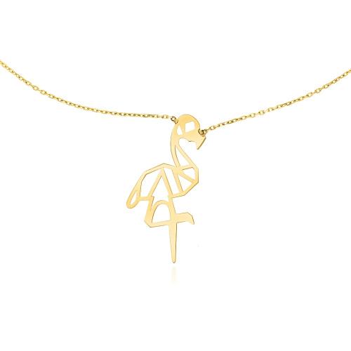 Złoty Naszyjnik Celebrytka - Origami Flaming pr.585