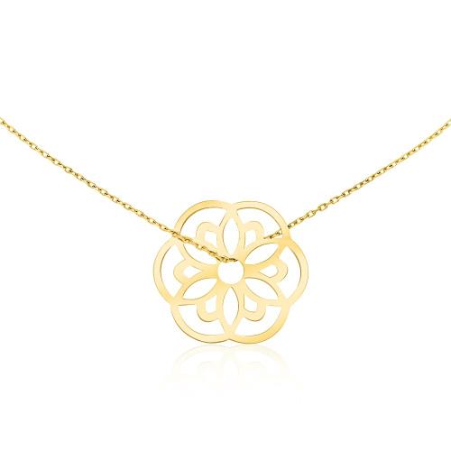 Złoty Naszyjnik Celebrytka - Fantazyjny Kwiatek pr.585