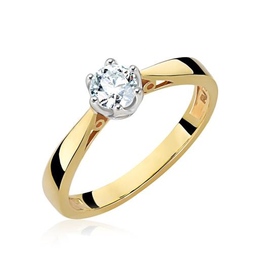 Pierścionek zaręczynowy 585 złoto z brylantem 0,40ct