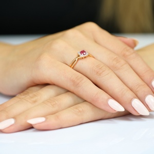 Pierścionek zaręczynowy 585 złoto z rubinem i brylantami - 17