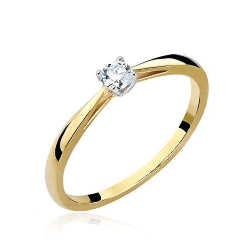 Pierścionek zaręczynowy 585 złoto z brylantem 0,230ct