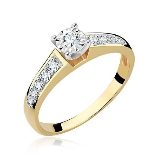 Pierścionek zaręczynowy 585 złoto z brylantem 0,42ct