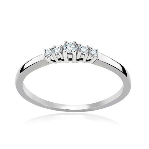 Pierścionek zaręczynowy 375 białe złoto z brylantami 0,10ct