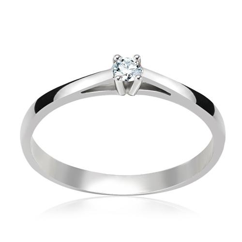 Pierścionek zaręczynowy 585 białe złoto z brylantem 0,09ct