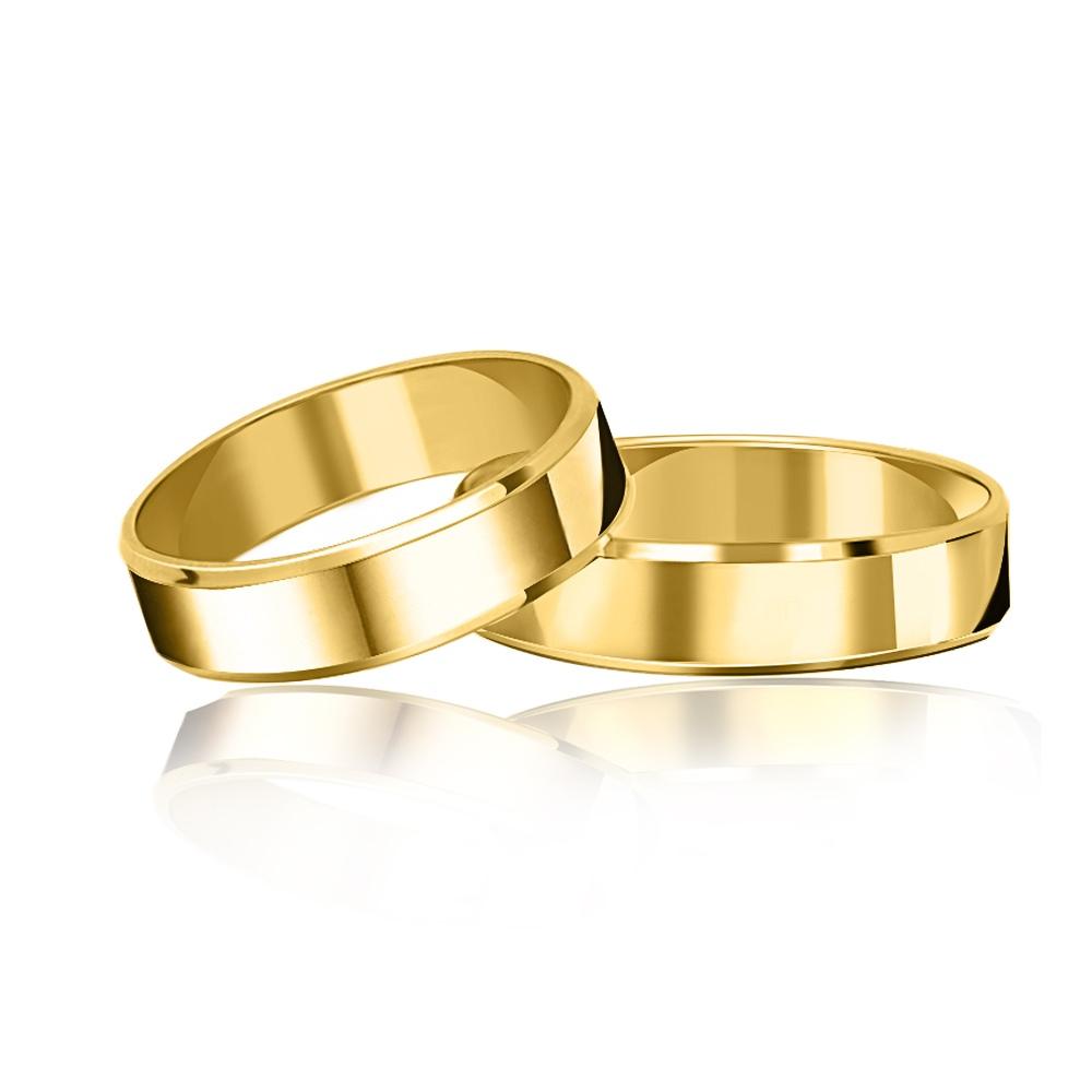 Para obrączek ślubnych płaskich fazowanych 5mm pr. 585