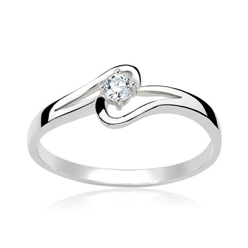 Pierścionek zaręczynowy 585 białe złoto z brylantem 0,097ct