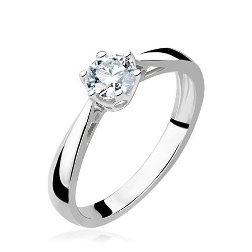 Pierścionek zaręczynowy 585 białe złoto z brylantem 0,20ct