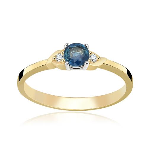 Pierścionek zaręczynowy 585 złoto z szafirem i brylantami - 14