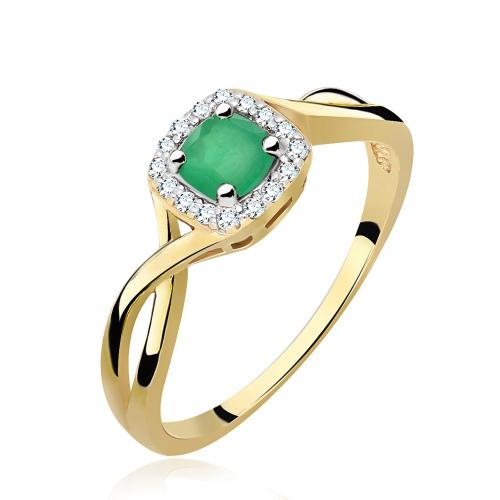 Pierścionek zaręczynowy 585 złoto z szmaragdem i brylantami - 14