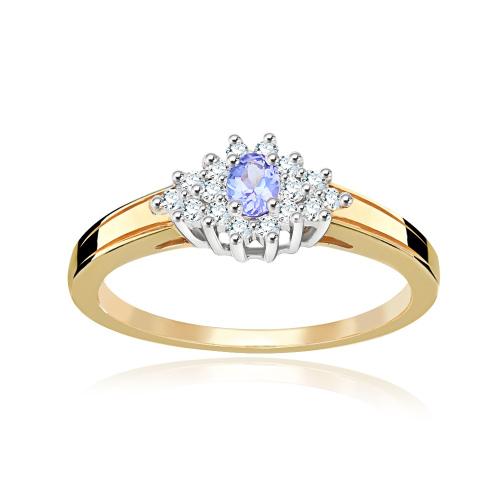 Pierścionek zaręczynowy 585 złoto z tanzanitem i brylantami - 15