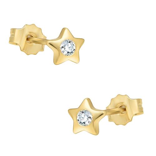 Złote kolczyki z cyrkoniami - gwiazdki pr.585