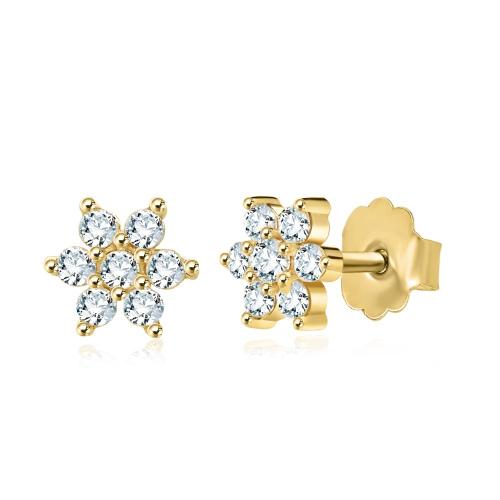 Złote kolczyki z cyrkoniami - kwiatuszki pr.585