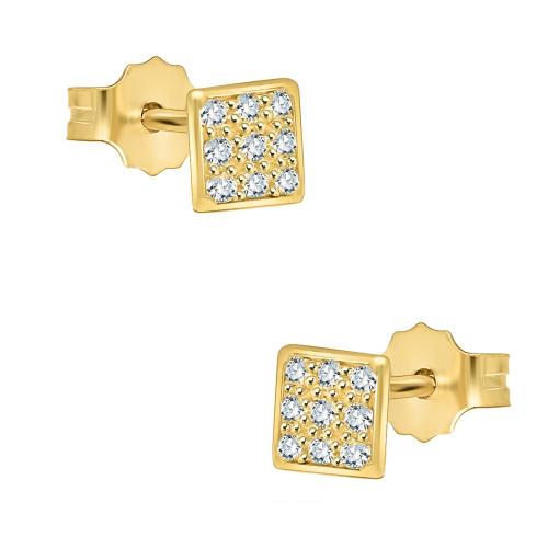 Złote kolczyki z cyrkoniami - kwadraty pr.585