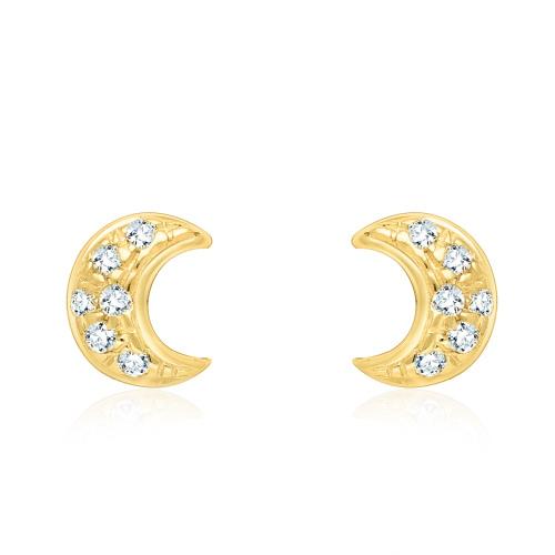 Złote kolczyki z cyrkoniami - księżyce pr.585