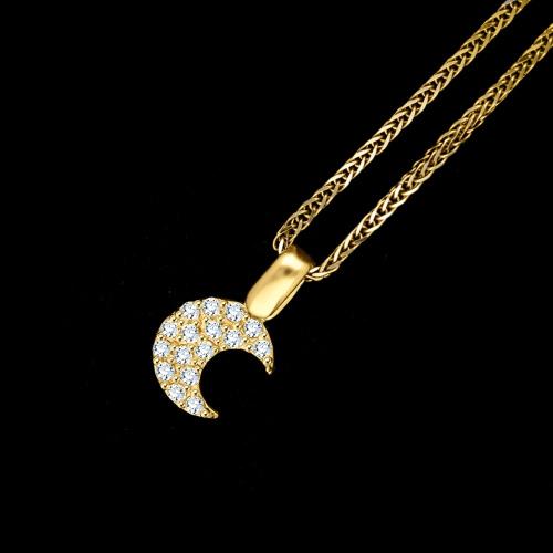 Złota zawieszka z cyrkoniami - księżyc pr.585