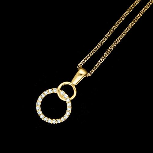 Złota zawieszka z cyrkoniami - koła, ringi pr.585