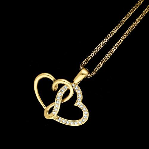 Złota zawieszka z cyrkoniami - splecione serca pr.585