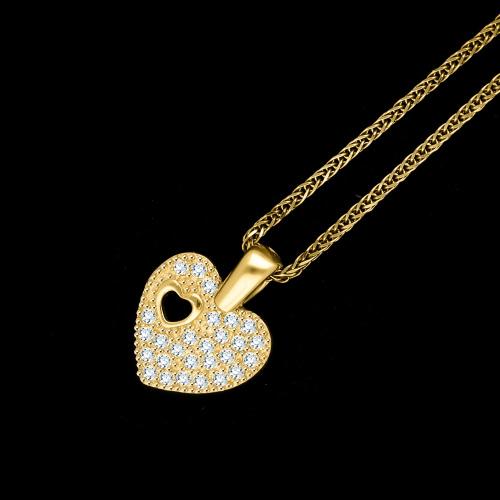 Złota zawieszka z cyrkoniami - serce pr.585
