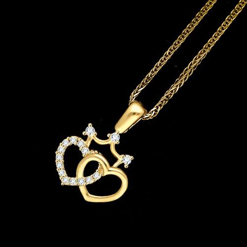 Złota zawieszka z cyrkoniami - splecione serca z koroną pr.585