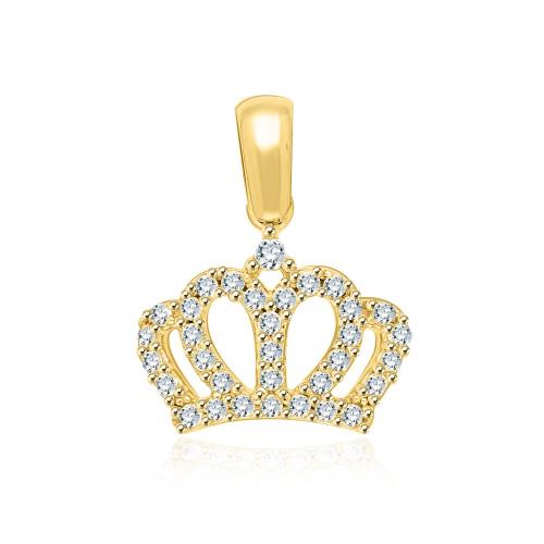 Złota zawieszka z cyrkoniami - korona pr.585