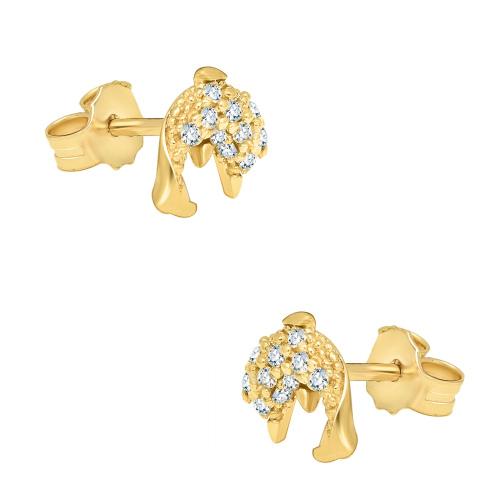 Złote kolczyki z cyrkoniami - delfiny pr.585