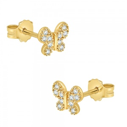 Złote kolczyki z cyrkoniami - motylki pr.585