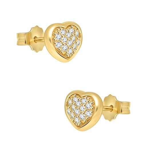Złote kolczyki z cyrkoniami - serca pr.585