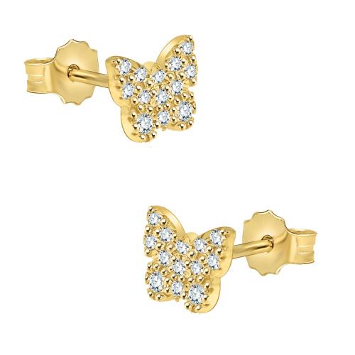 Złote kolczyki z cyrkoniami - motyle pr.585