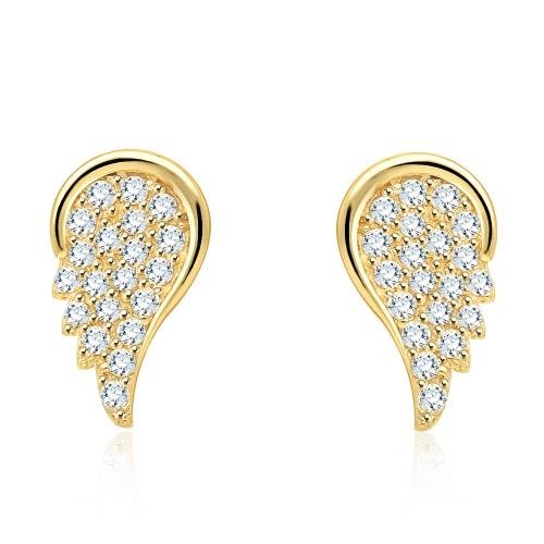 Złote kolczyki z cyrkoniami - skrzydła pr.585