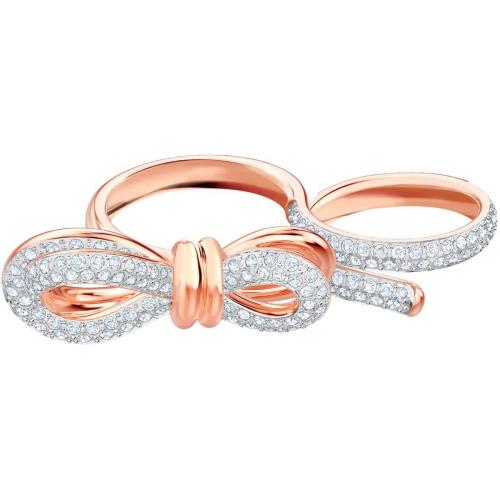 Pierścionek SWAROVSKI - Lifelong Bow Double, Rose Gold, White 5474926 52-55