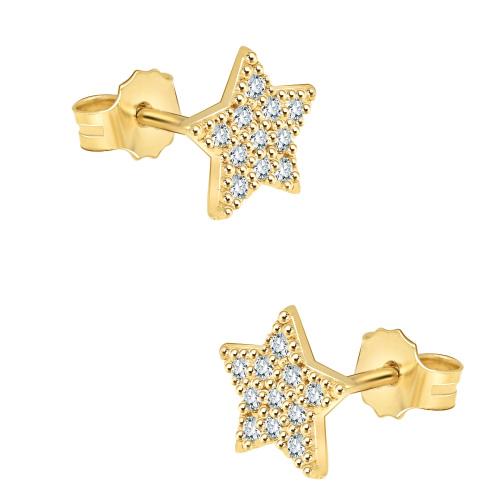 Złote kolczyki z cyrkoniami - gwiazdy pr.585