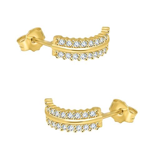 Złote kolczyki zdobione cyrkoniami pr.585