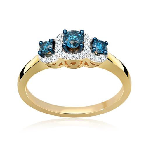 Pierścionek zaręczynowy złoto 585 z Niebieskimi Brylantami 0,53ct
